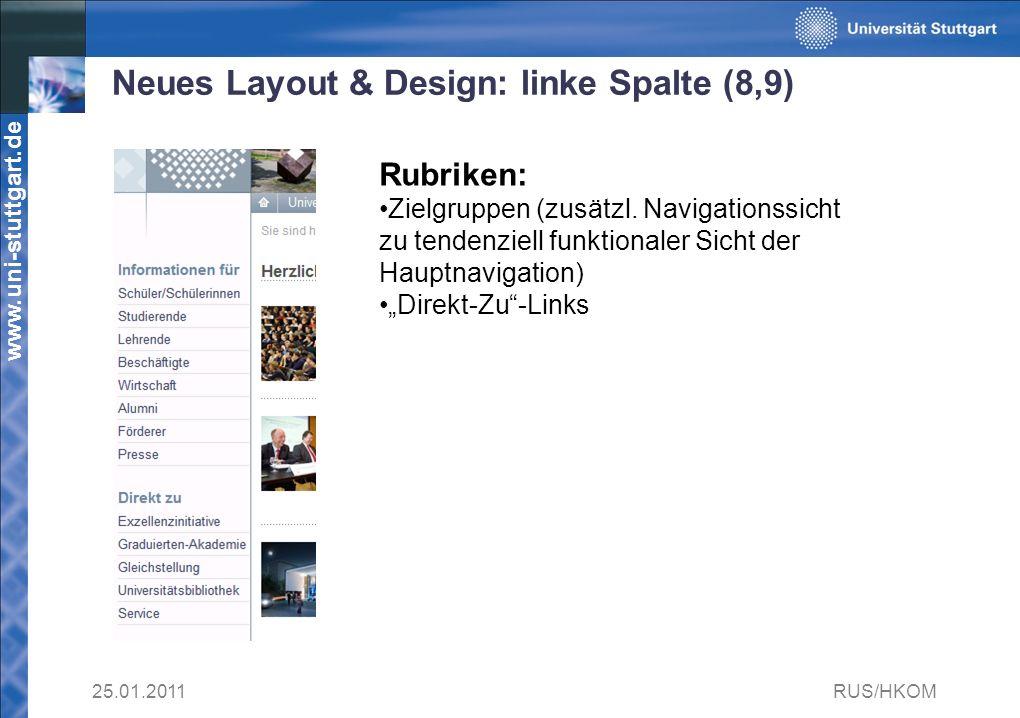 Neues Layout & Design: linke Spalte (8,9)