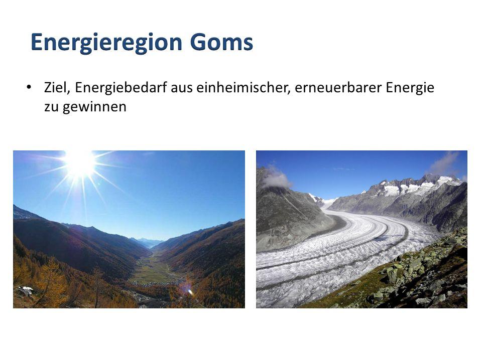 Energieregion Goms Ziel, Energiebedarf aus einheimischer, erneuerbarer Energie zu gewinnen.