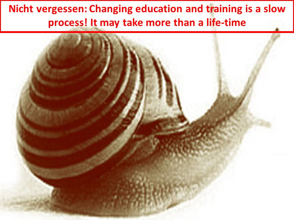 Nicht vergessen: Changing education and training is a slow process