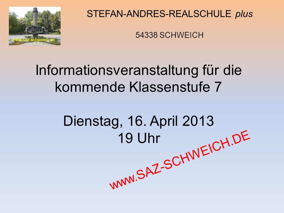 Informationsveranstaltung für die kommende Klassenstufe 7
