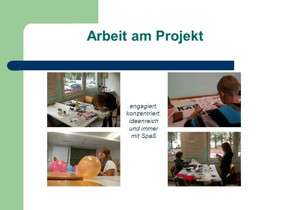 Arbeit am Projekt engagiert, konzentriert, ideenreich und immer