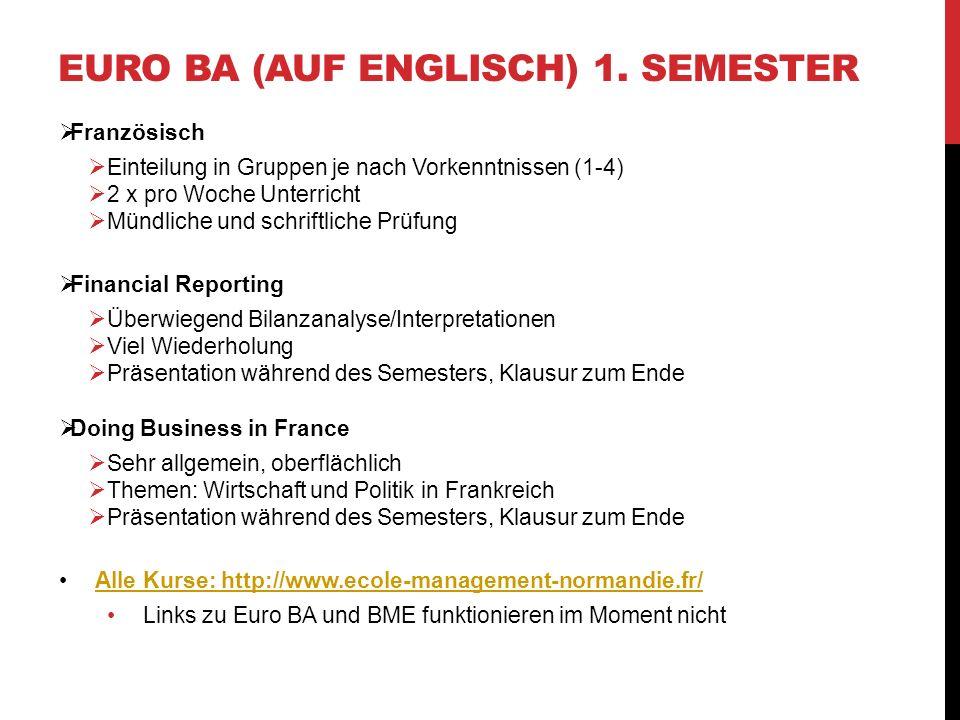 Euro BA (auf Englisch) 1. Semester