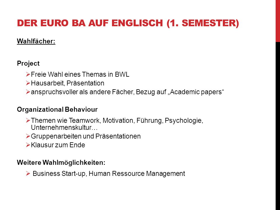 Der Euro BA auf Englisch (1. Semester)