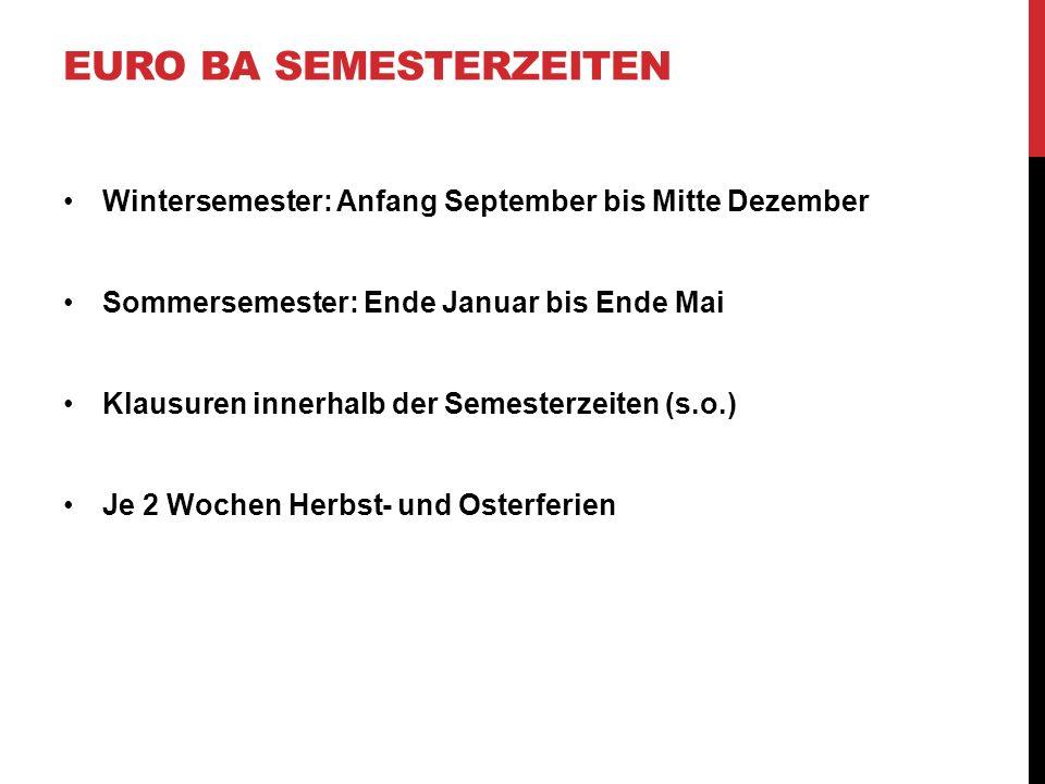Euro BA Semesterzeiten