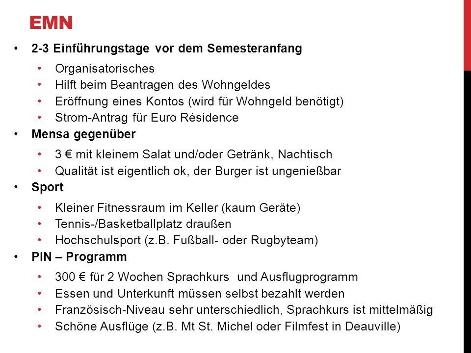 EMN 2-3 Einführungstage vor dem Semesteranfang Organisatorisches