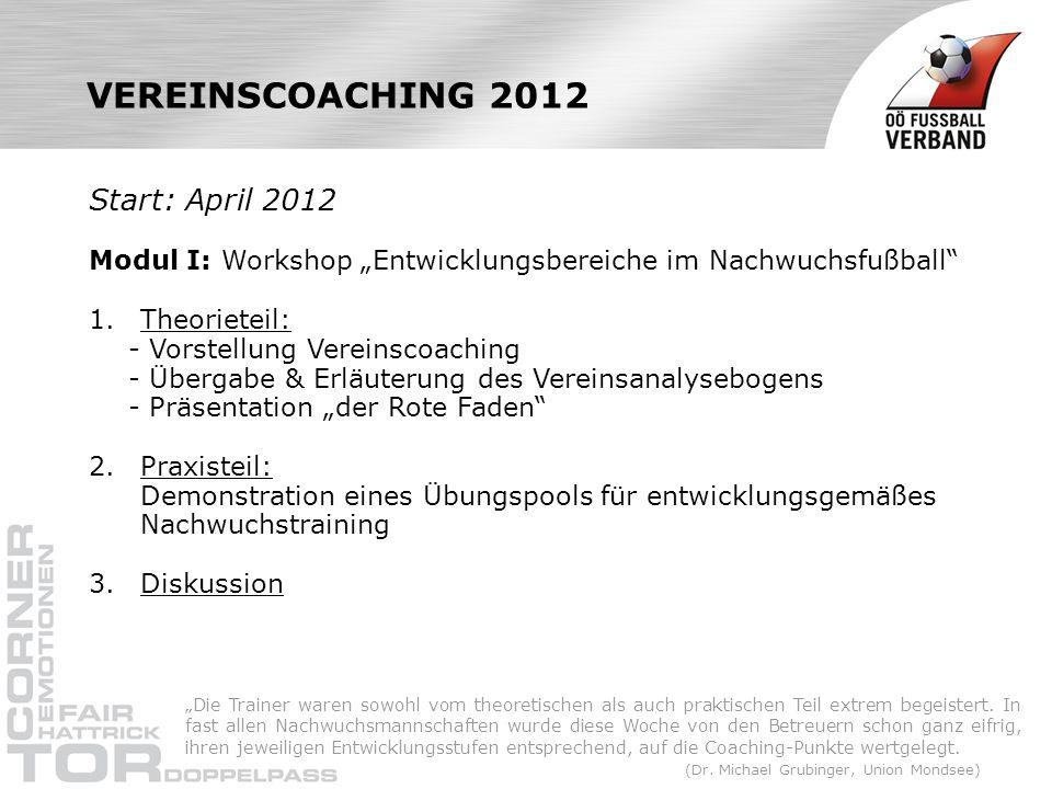 VEREINSCOACHING 2012 Start: April 2012