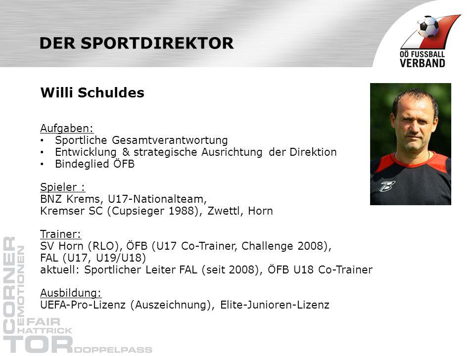 DER SPORTDIREKTOR Willi Schuldes Aufgaben: