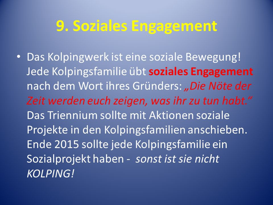9. Soziales Engagement