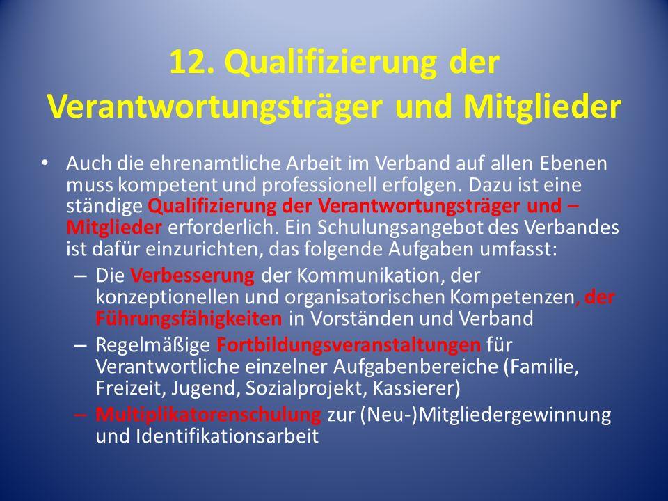 12. Qualifizierung der Verantwortungsträger und Mitglieder