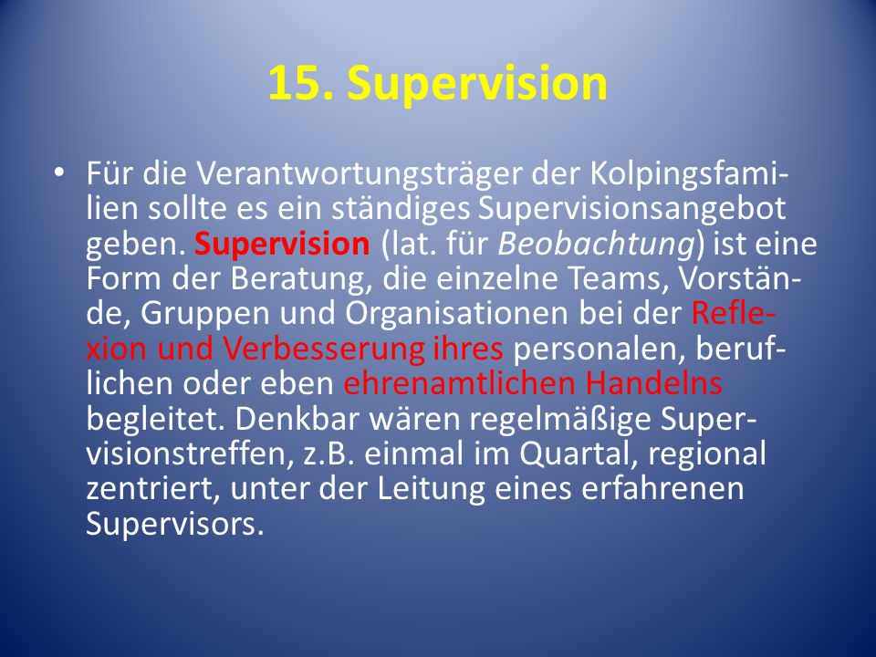 15. Supervision
