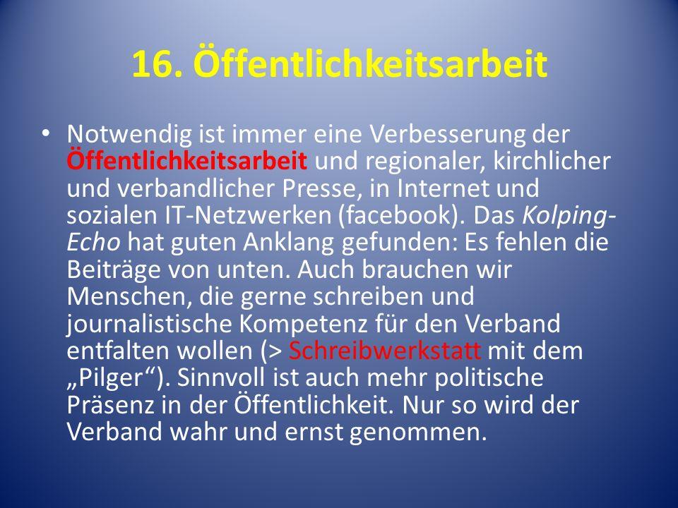 16. Öffentlichkeitsarbeit
