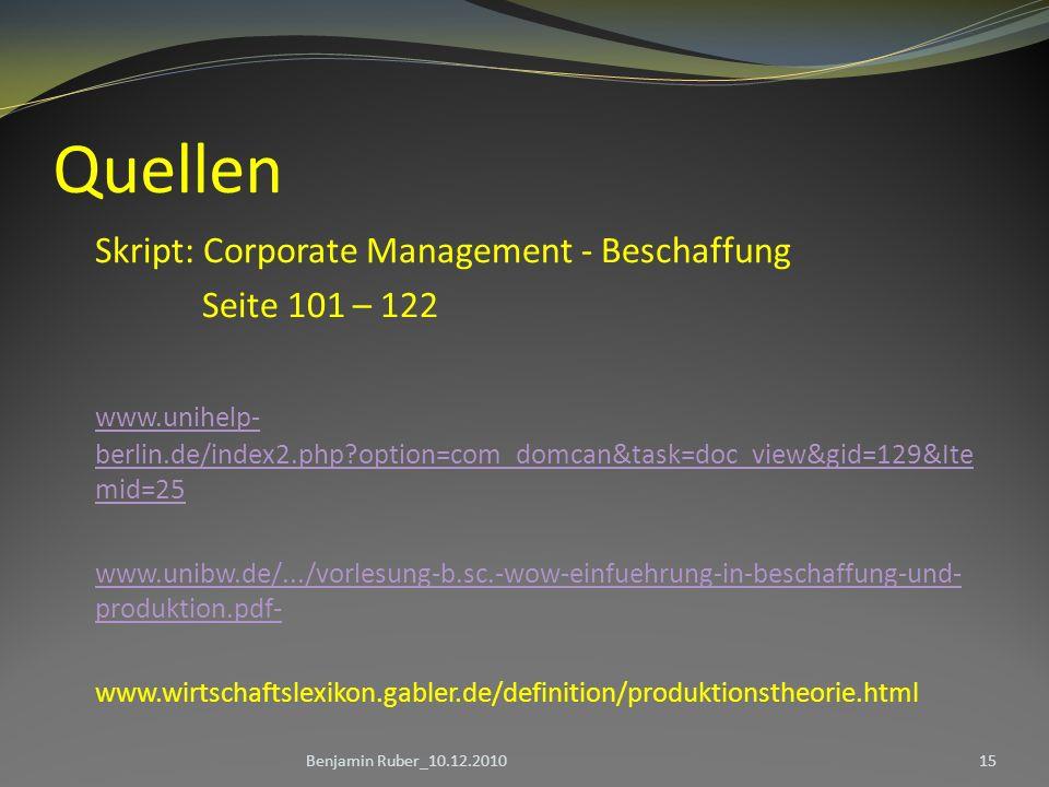 Quellen Skript: Corporate Management - Beschaffung Seite 101 – 122