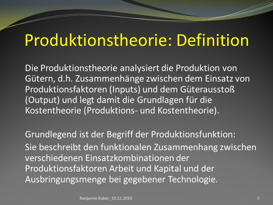 Produktionstheorie: Definition