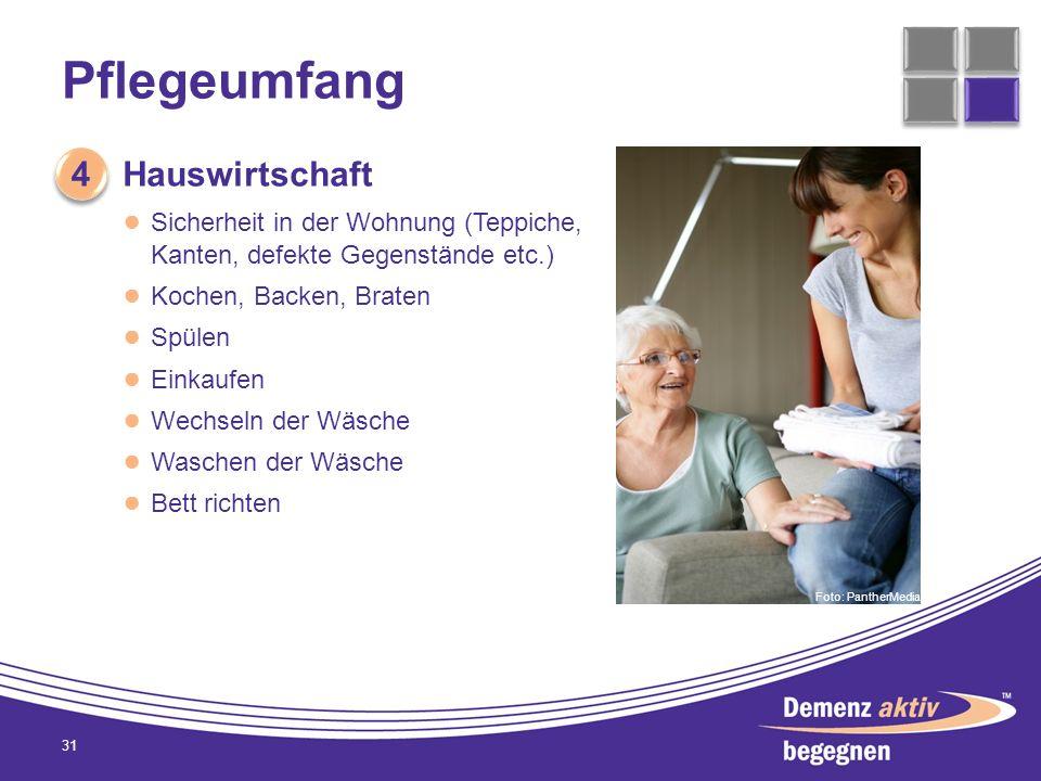Pflegeumfang 4 Hauswirtschaft