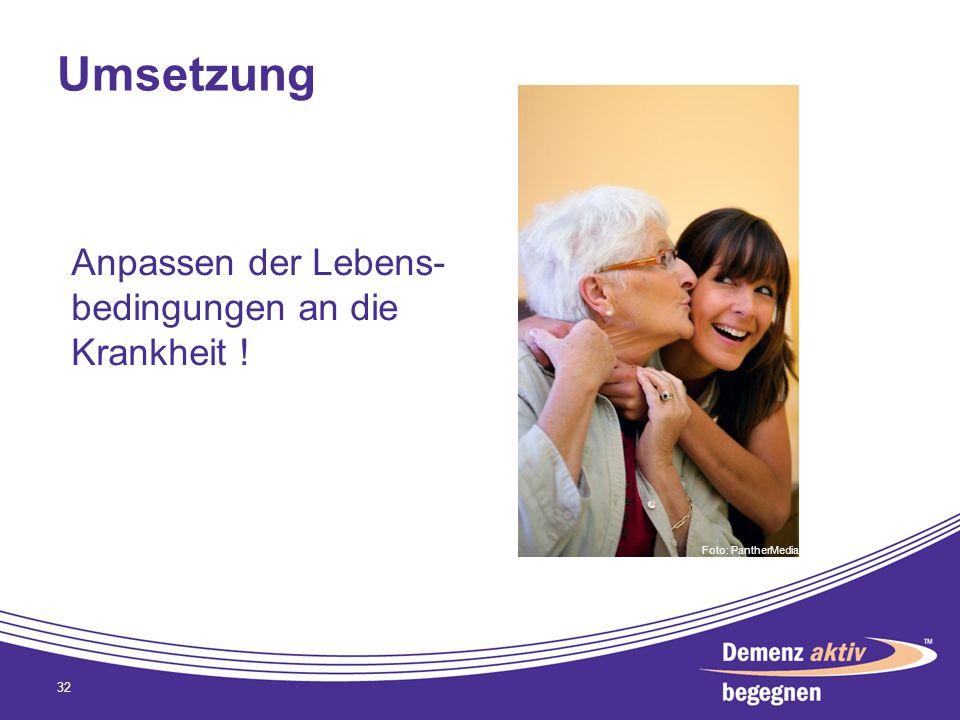Umsetzung Anpassen der Lebens-bedingungen an die Krankheit !