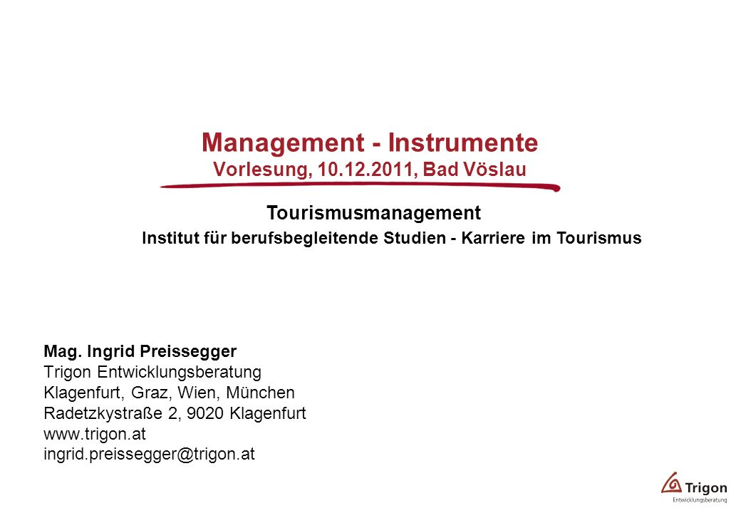 Management - Instrumente Vorlesung, , Bad Vöslau