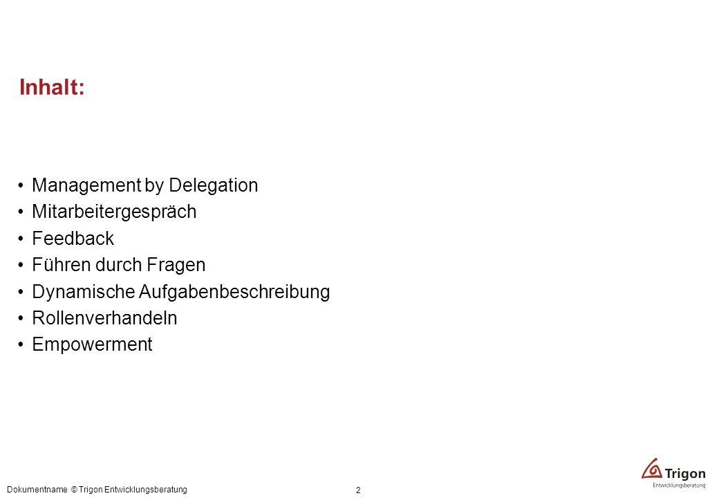 Inhalt: Management by Delegation Mitarbeitergespräch Feedback