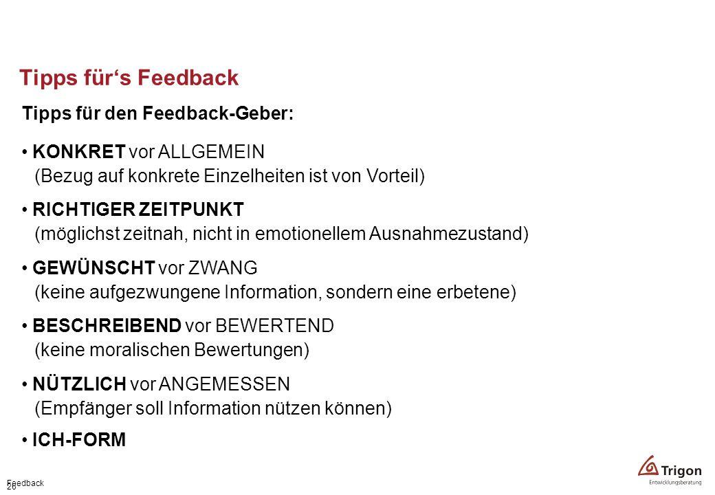 Tipps für's Feedback Tipps für den Feedback-Geber: