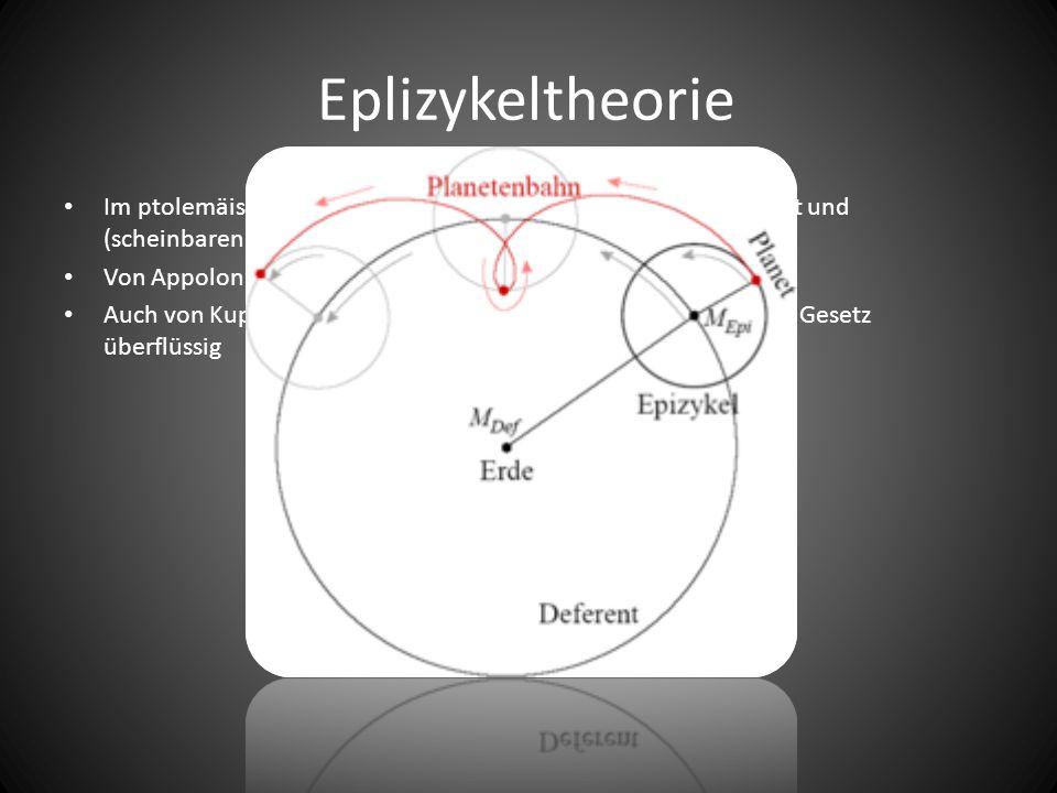 Eplizykeltheorie Im ptolemäischen Weltsystem zur Erklärung von Geschwindigkeit und (scheinbaren) Bewegungen eingeführt.