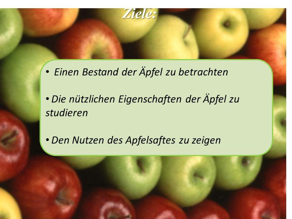 Ziele: Einen Bestand der Äpfel zu betrachten