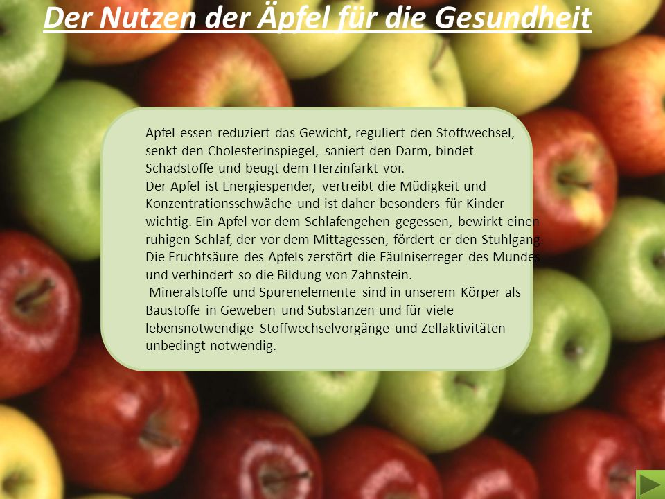 Der Nutzen der Äpfel für die Gesundheit
