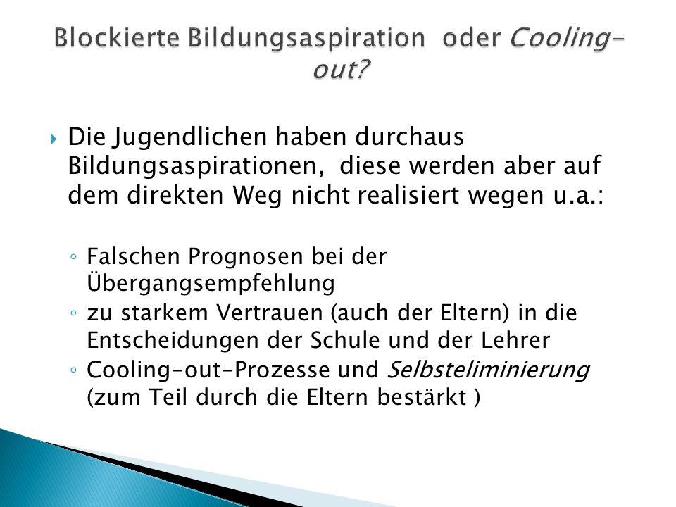 Blockierte Bildungsaspiration oder Cooling-out