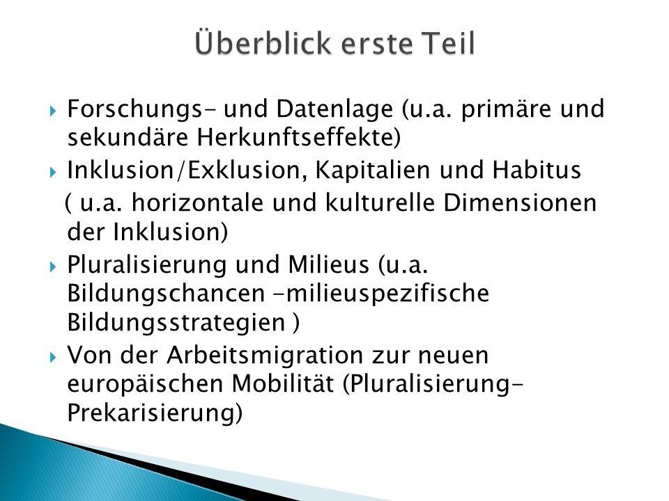 Überblick erste Teil Forschungs- und Datenlage (u.a. primäre und sekundäre Herkunftseffekte) Inklusion/Exklusion, Kapitalien und Habitus.