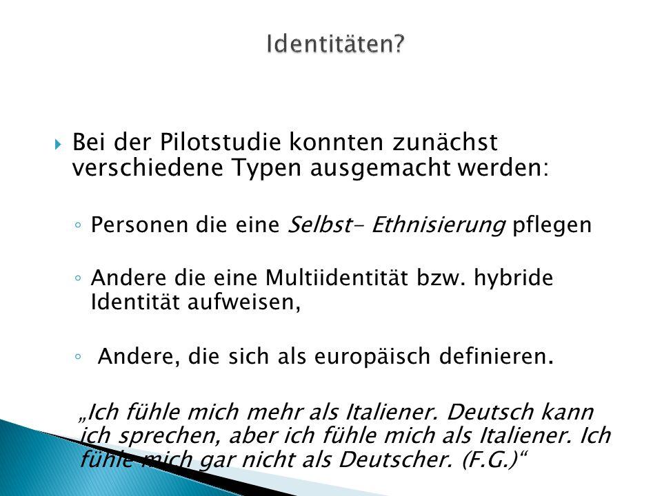 Identitäten Bei der Pilotstudie konnten zunächst verschiedene Typen ausgemacht werden: Personen die eine Selbst- Ethnisierung pflegen.