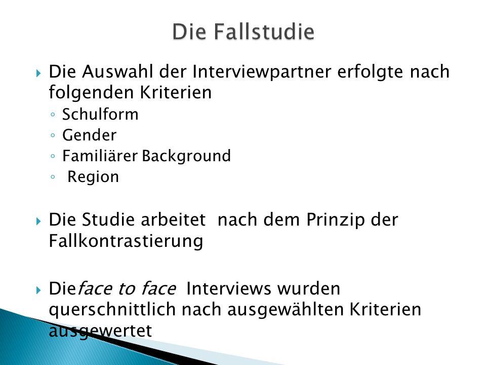 Die Fallstudie Die Auswahl der Interviewpartner erfolgte nach folgenden Kriterien. Schulform. Gender.