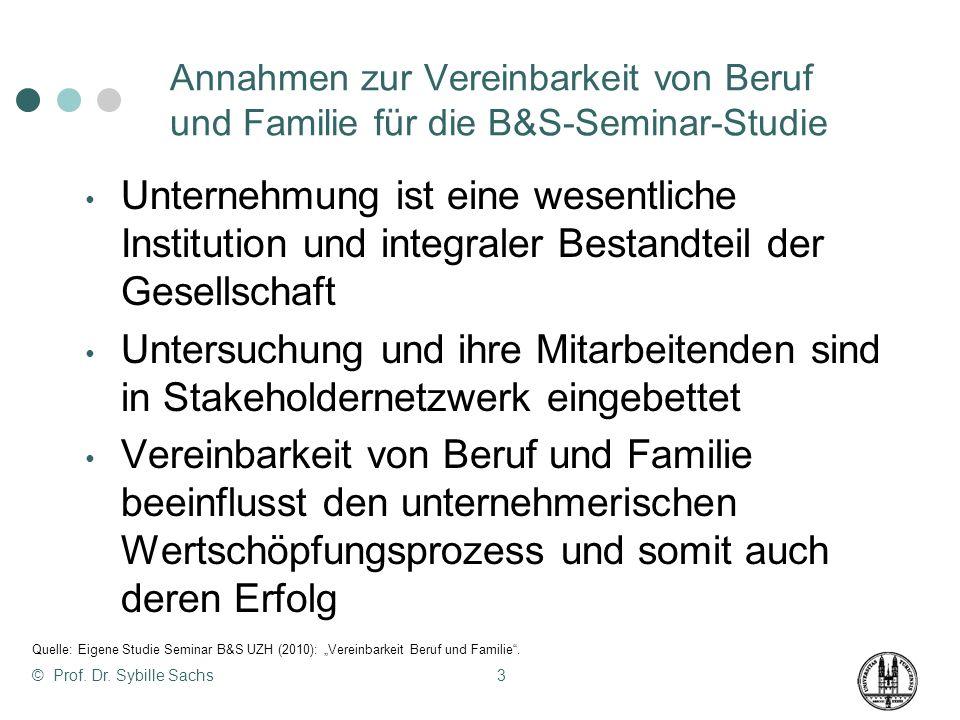 Annahmen zur Vereinbarkeit von Beruf und Familie für die B&S-Seminar-Studie