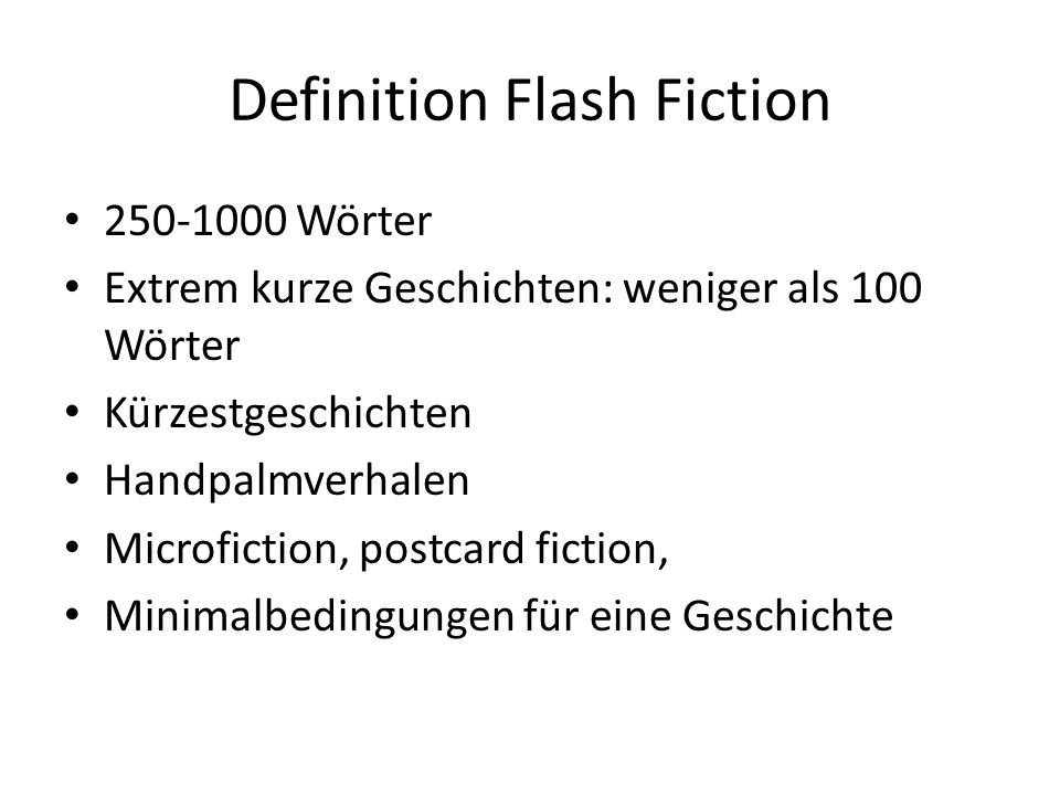 Definition Flash Fiction