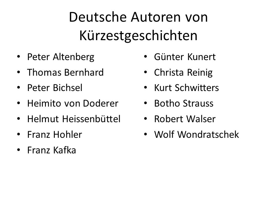 Deutsche Autoren von Kürzestgeschichten