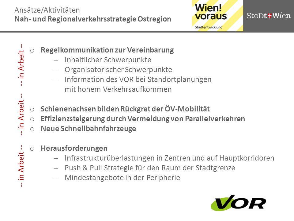 Ansätze/AktivitätenNah- und Regionalverkehrsstrategie Ostregion. Regelkommunikation zur Vereinbarung.
