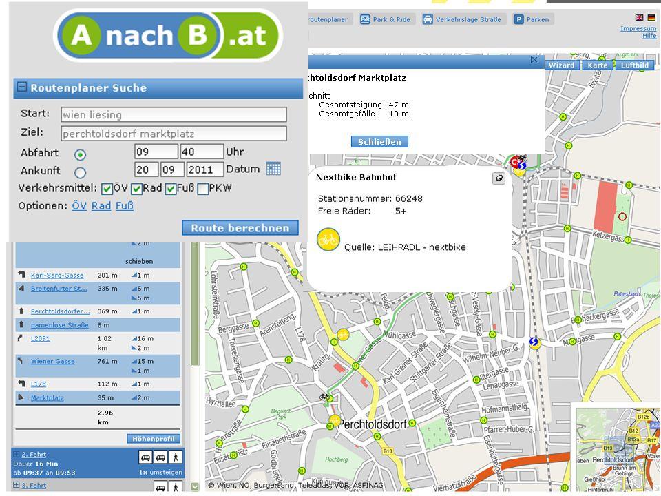 AnachB.at Am Protal AnachB.at ist dies sogar schon geschafft. Zudem sind hier auch ÖV und andere Mobilitätsangebote abrufbar.