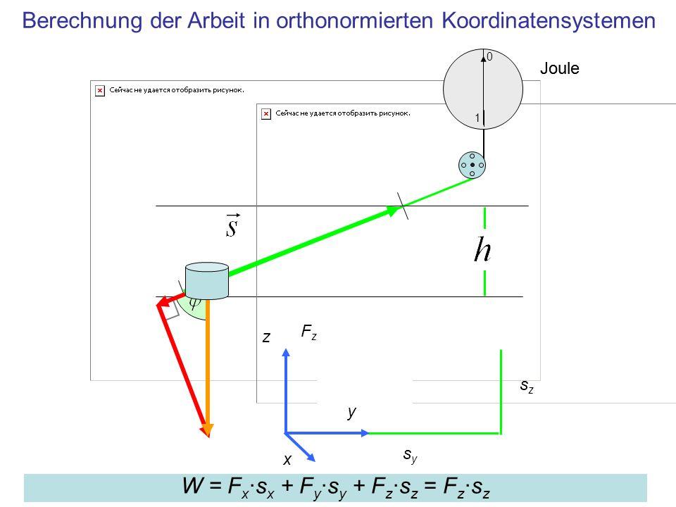 Berechnung der Arbeit in orthonormierten Koordinatensystemen