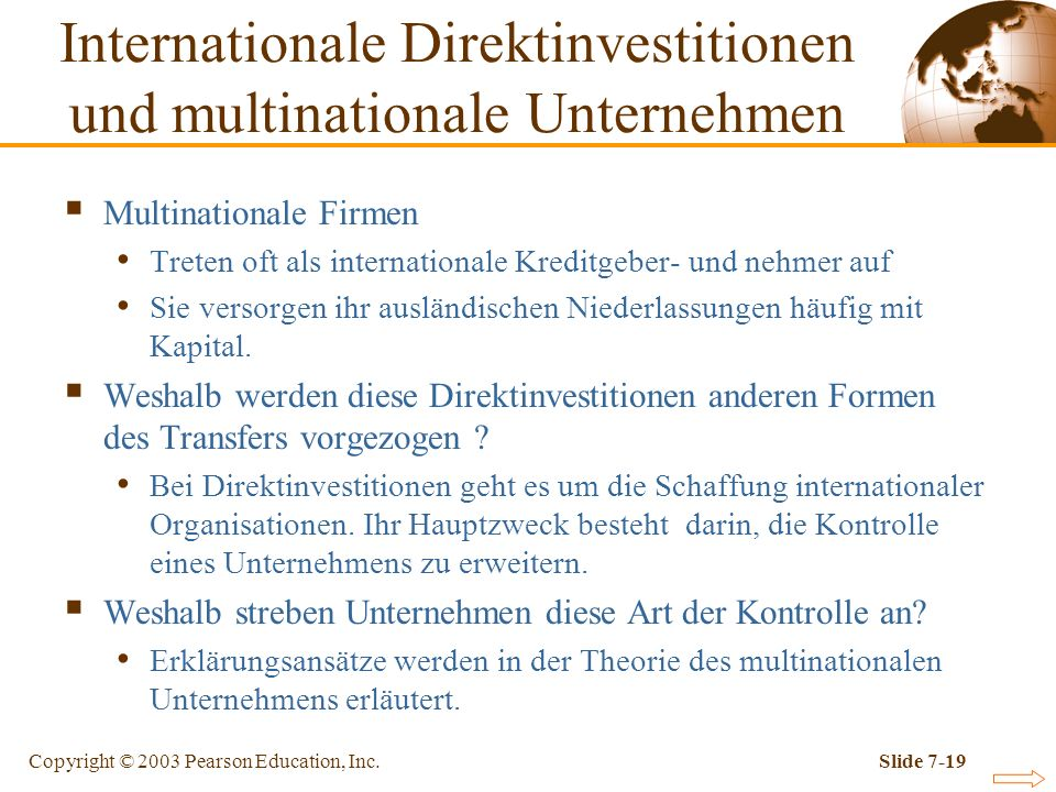 Internationale Direktinvestitionen und multinationale Unternehmen
