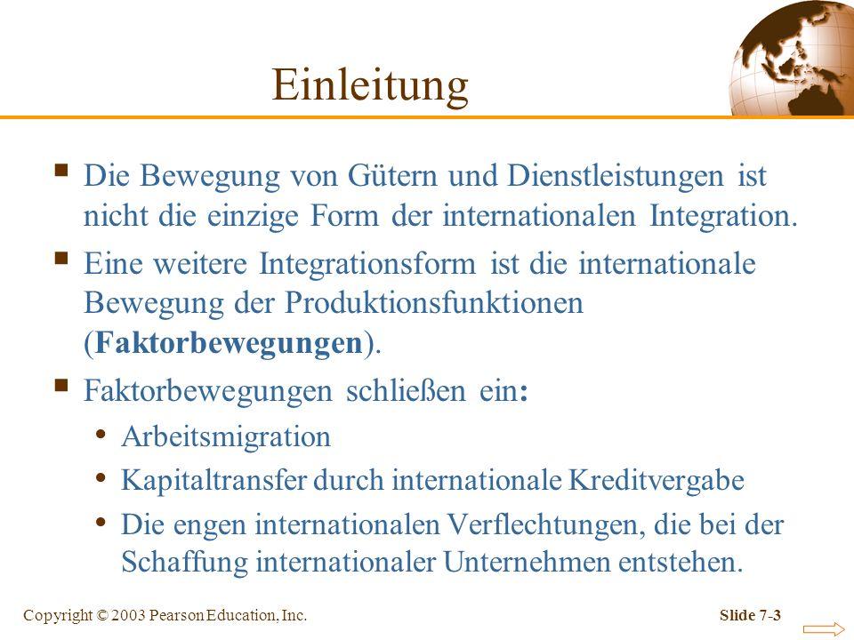 Einleitung Die Bewegung von Gütern und Dienstleistungen ist nicht die einzige Form der internationalen Integration.