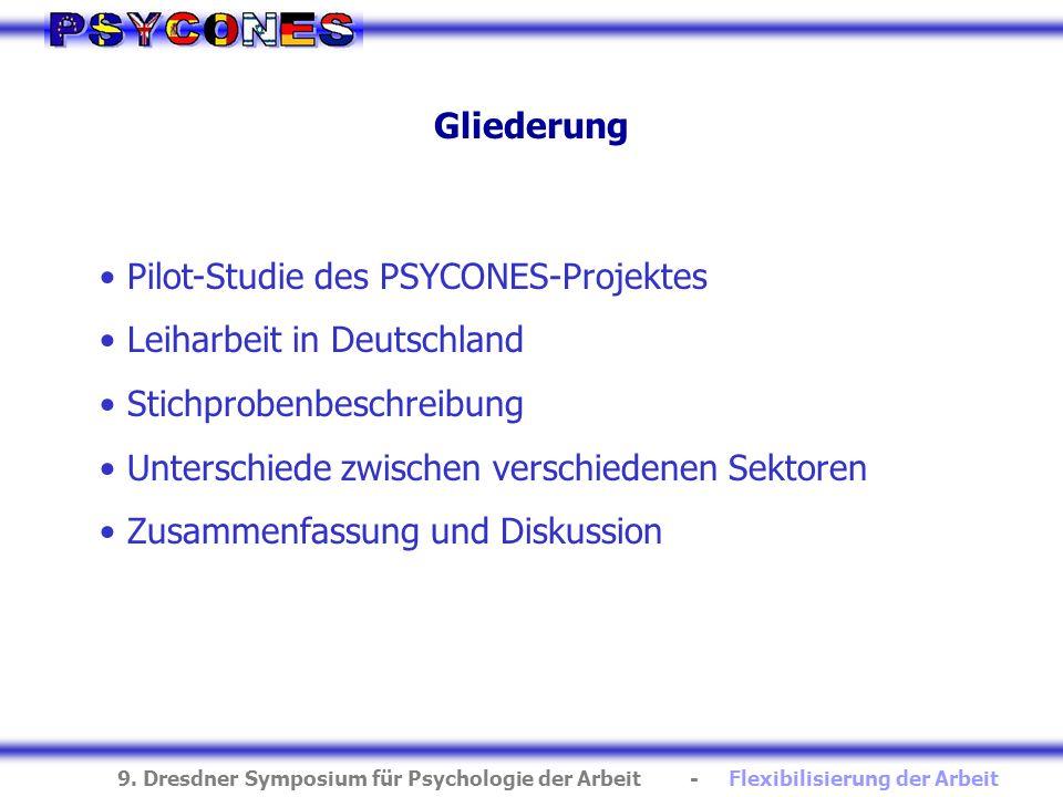 GliederungPilot-Studie des PSYCONES-Projektes. Leiharbeit in Deutschland. Stichprobenbeschreibung. Unterschiede zwischen verschiedenen Sektoren.