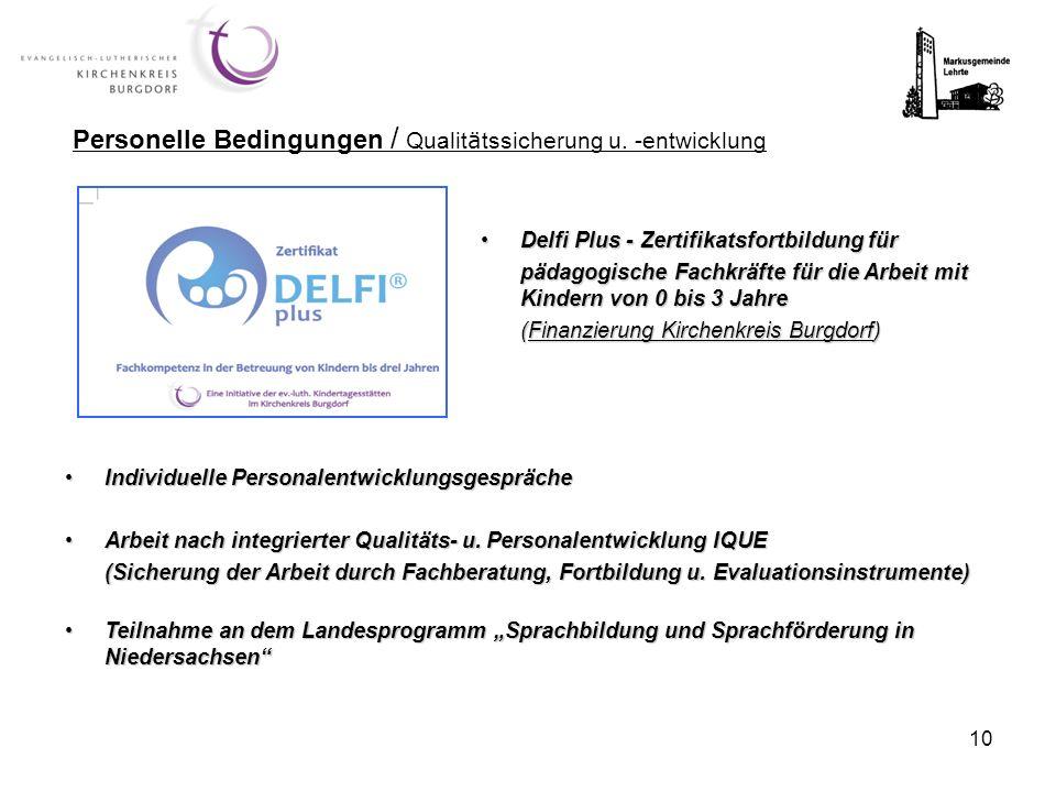 Personelle Bedingungen / Qualitätssicherung u. -entwicklung