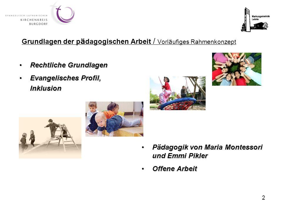 Grundlagen der pädagogischen Arbeit / Vorläufiges Rahmenkonzept