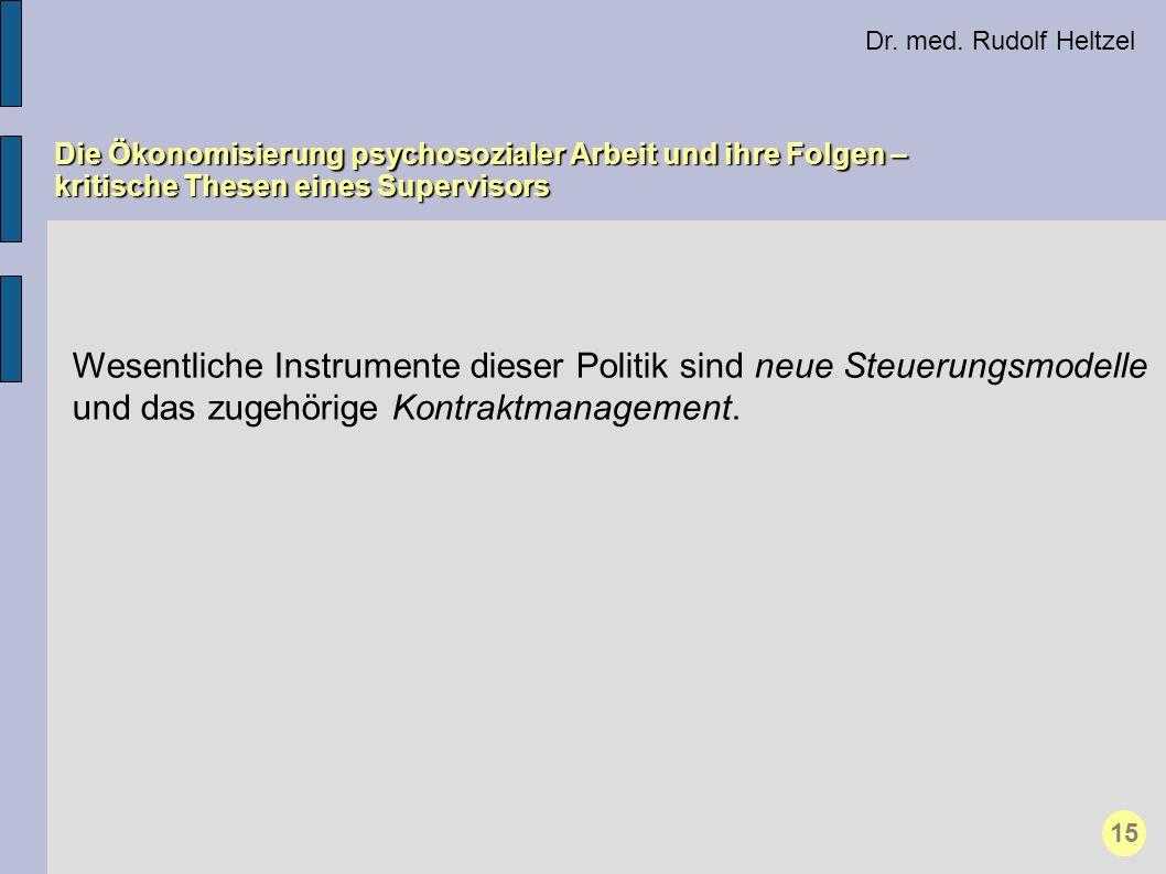 Dr. med. Rudolf Heltzel Die Ökonomisierung psychosozialer Arbeit und ihre Folgen – kritische Thesen eines Supervisors.