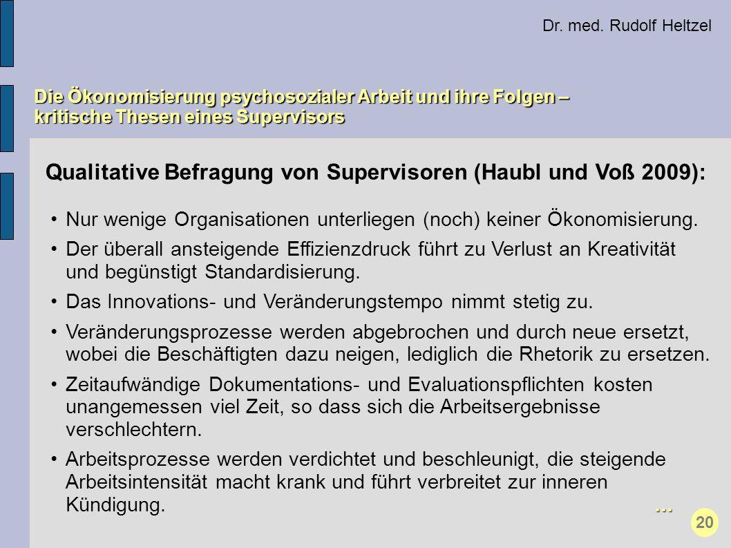 Qualitative Befragung von Supervisoren (Haubl und Voß 2009):