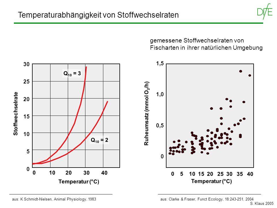 Temperaturabhängigkeit von Stoffwechselraten