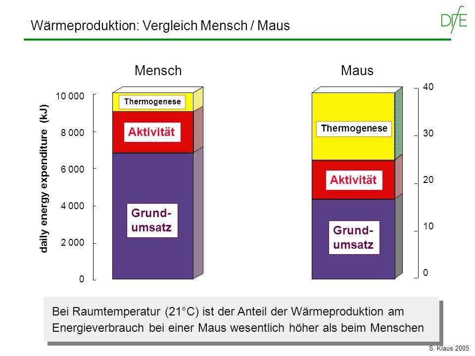 Wärmeproduktion: Vergleich Mensch / Maus