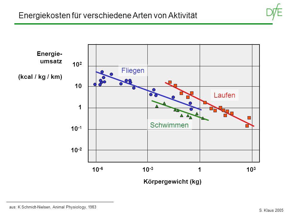 Energiekosten für verschiedene Arten von Aktivität