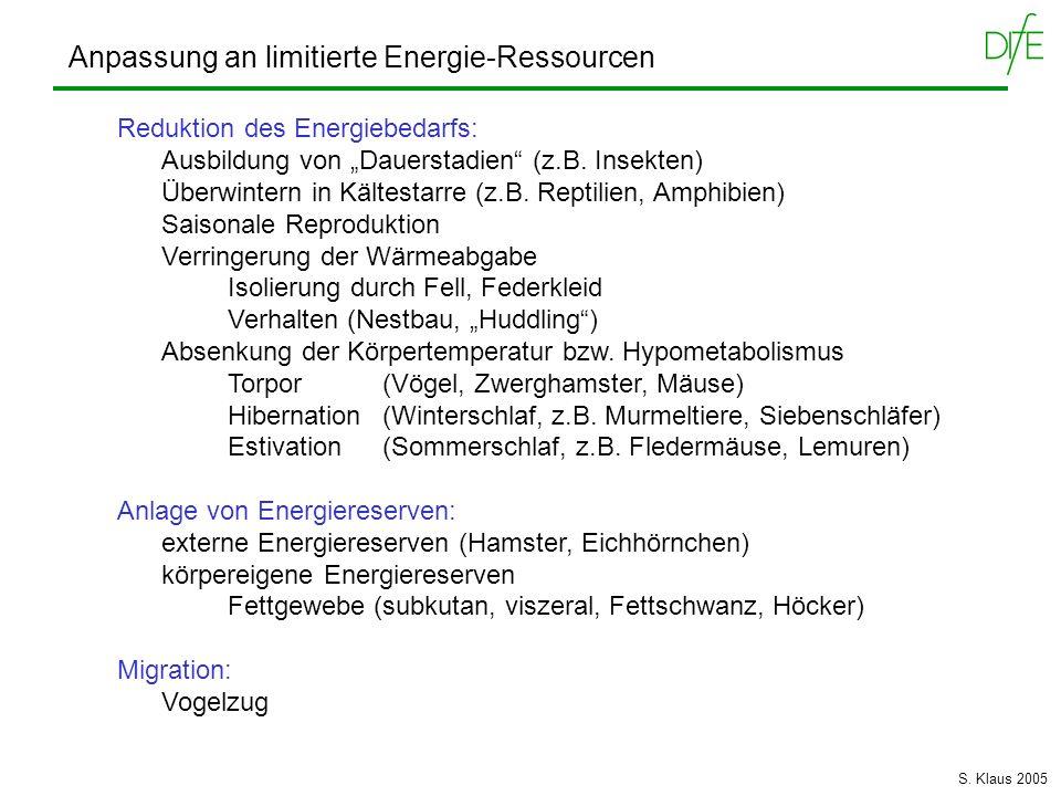 Anpassung an limitierte Energie-Ressourcen