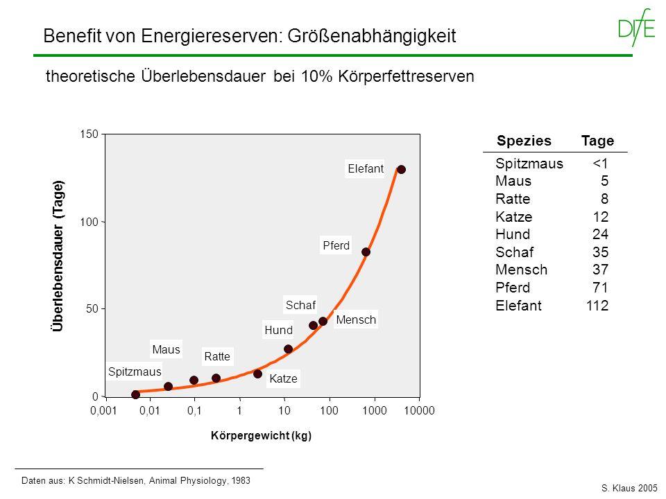 Benefit von Energiereserven: Größenabhängigkeit