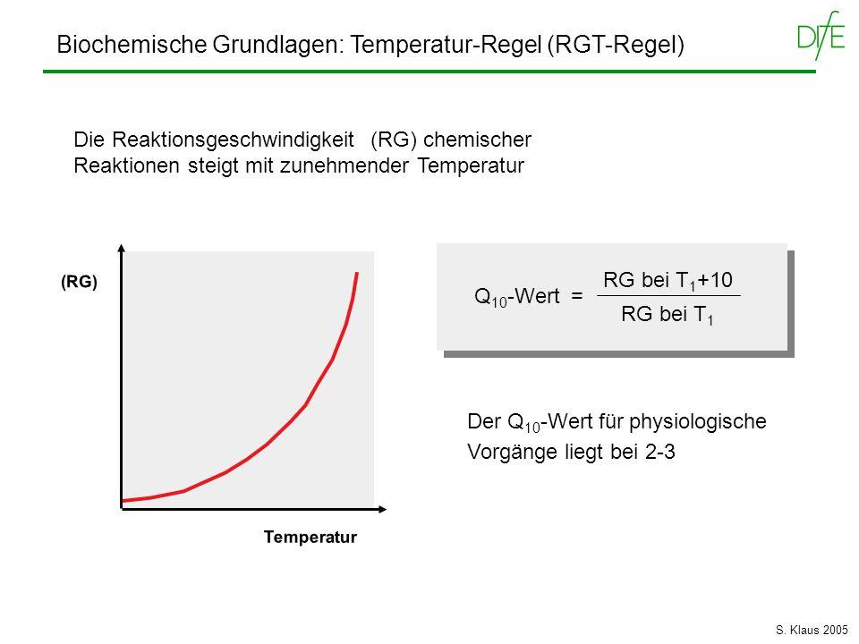 Biochemische Grundlagen: Temperatur-Regel (RGT-Regel)