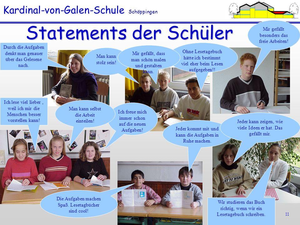 Statements der Schüler