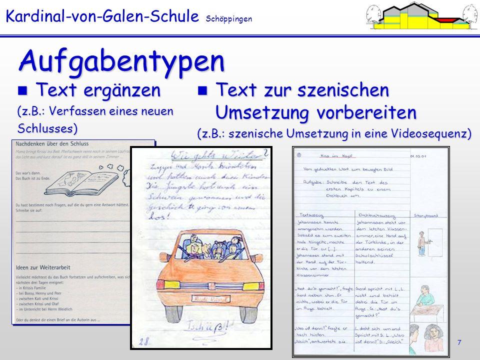 Aufgabentypen Text ergänzen Text zur szenischen Umsetzung vorbereiten